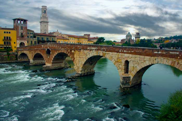 Ponte Pietra, Verona,  Northern Italy