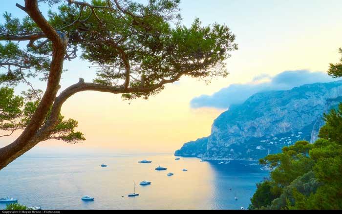 Italian Coast From The South Of Capri