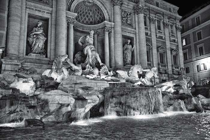 Trevi Fountain, Rome, at Night in Black and White