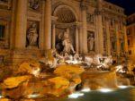 Trevi Roman fountain at Night, Italy