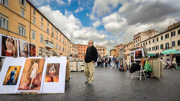 Artists in Piazza Navona, Rome, Italy