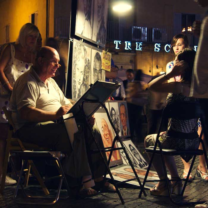 Night Painter at Rome Piazza Navona 14