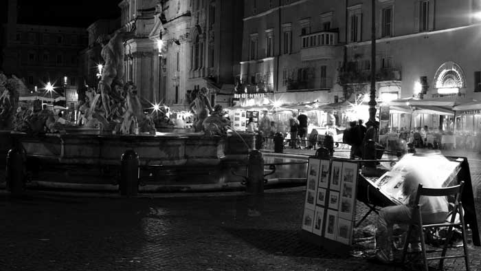 More Night Art in Piazza Navona, Rome