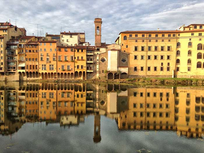 Reflection on the Arno River, Firenze, Italy