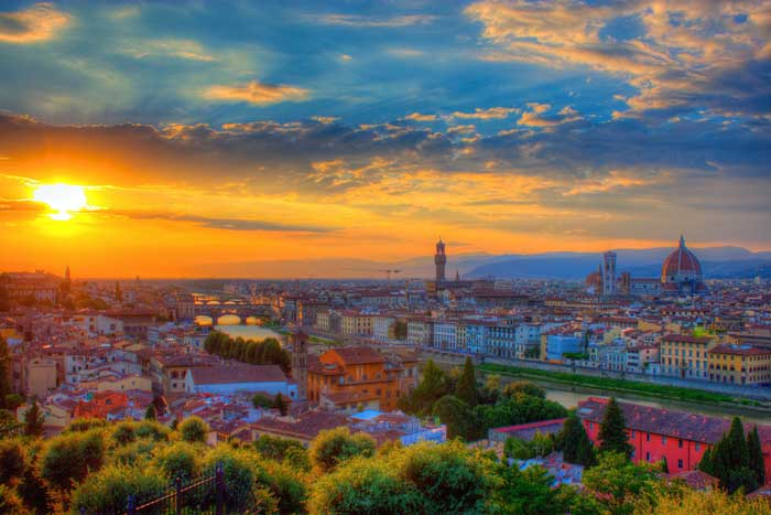 Colorful  Sunset over Florence, Italy