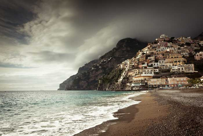 Deserted Positano Coast in Winter