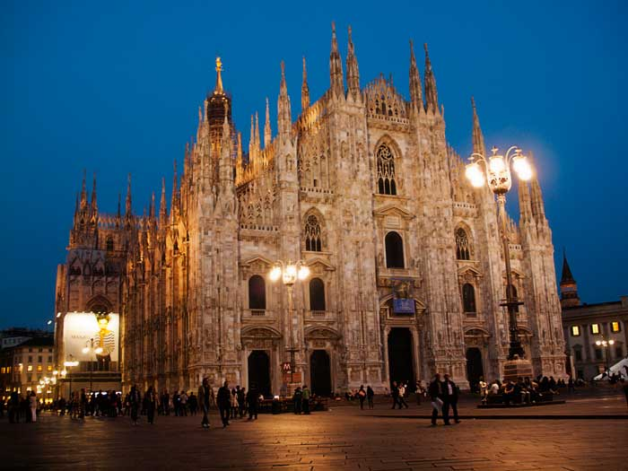 Night View of the Magnificent Milan Cathedral