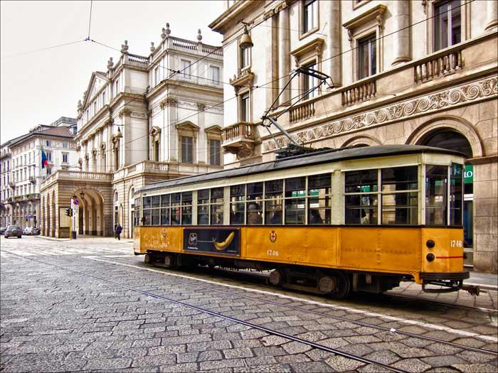 Cobbled Street in Milano, Italy