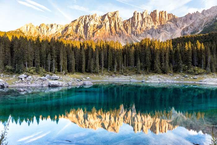 Karersee or Lago di Carezza, Dolomites, Italy