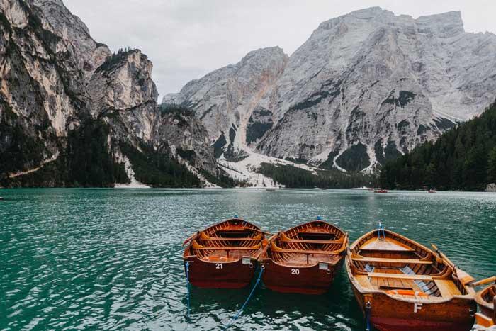 Pragser Wildsee or Lago di Braies, South Tyrol, Italy