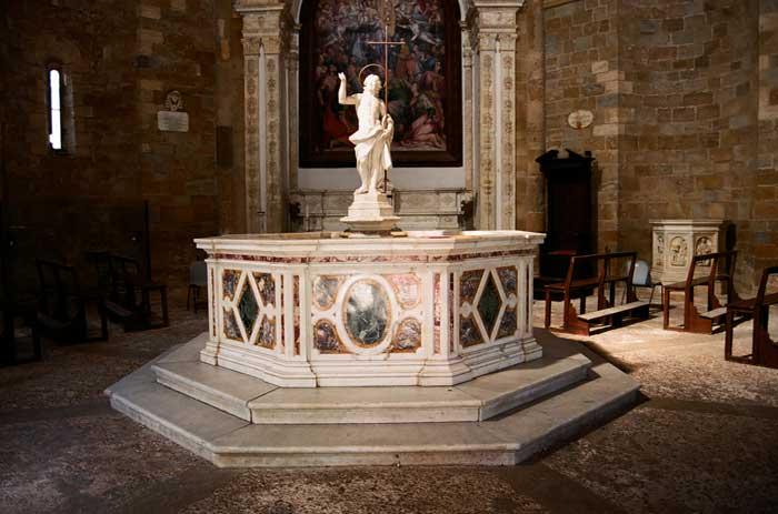 Interior of the Baptistery of Volterra, Italy