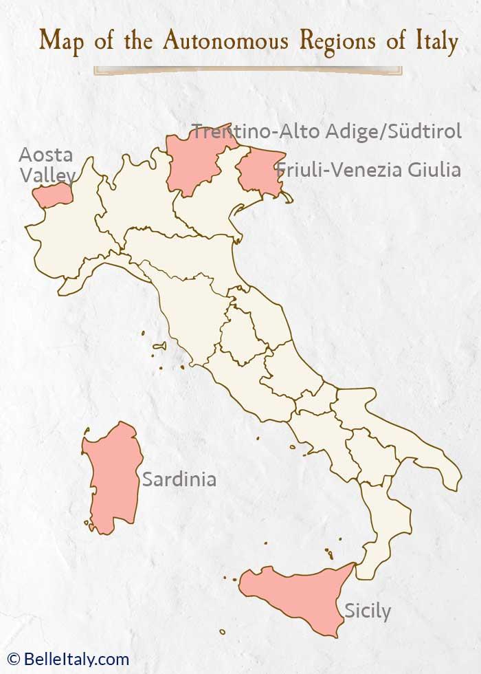 Autonomous Regions of Italy Map